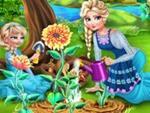 Elsa ve Kızı Çiçek Yetiştirme